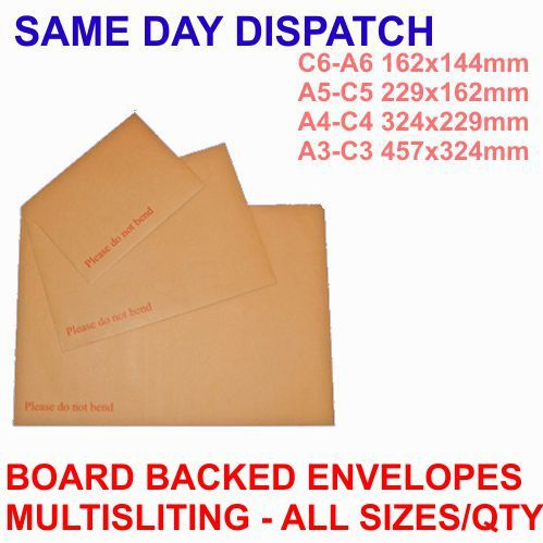 125x C4 324x229mm Board backed envelopes